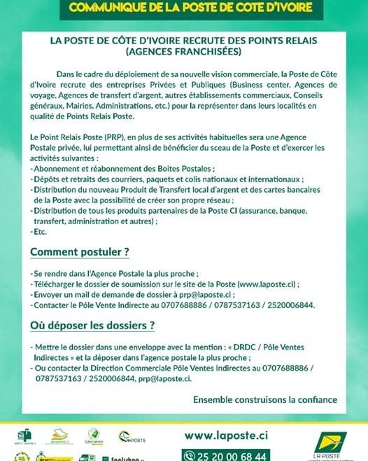 LA POSTE DE COTE D'VOIRE lance UN AVIS DE RECRUTEMENT 2021